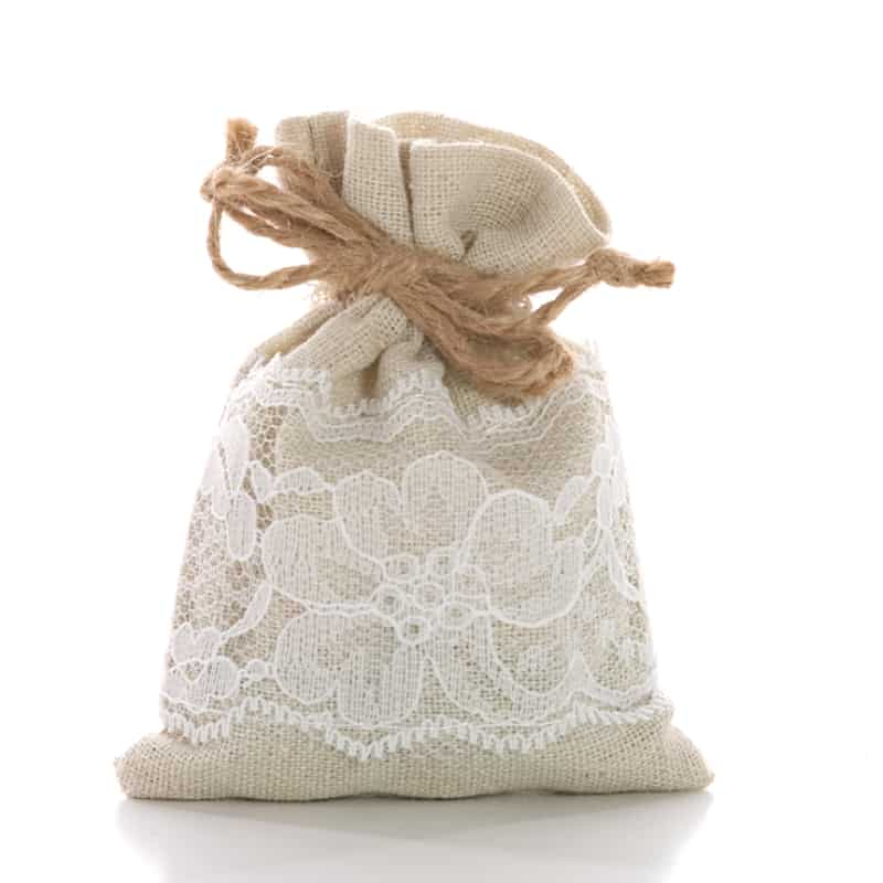 Natural/White Linen & Lace Fabric Bags - 3 X 4 - Cotton - Quantity: 12 - Reusable Bags by Paper Mart
