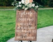 Choose a Seat, Not a Side Wedding Sign Personalized Two Families are Becoming One Vertical Wooden Sign Boho Rustic Wedding Decor