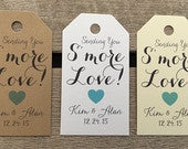 Small Wedding Gift Tags Smore Love Wedding Favor Tags Customizable Personalized (WT1462)