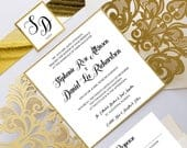 Laser Cut Wedding Invitations, Elegant Gold Laser Wedding Invitation Set, Luxurious Wedding Suite, Laser Invitation Wrap