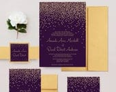 Gold and Purple Wedding Invitations, Faux Glitter Confetti Invites, Elegant Wedding Invite, Invitations for Wedding DEPOSIT