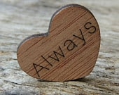100 Always 1 Wood Hearts, Wood Confetti Engraved Love Hearts Rustic Wedding Decor Table Decorations Small Wooden Hearts