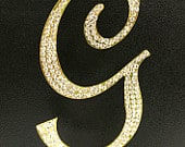 Gold Plated Rhinestone Crystal Monogram Letter G Wedding Cake Topper 5 inches high