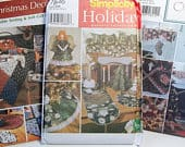 Christmas Home Accessories Pattern Lot Simplicity 5323, 7846, 5810 Table Decor, Tree Topper and Skirt, Mantel Scarf Stockings Pillow Runner