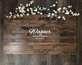 Rustic Wedding Guest Book Alternative / Last Name Monogram Rustic Wedding Decor Guest Sign In Wood Guestbook Country Wedding Gift