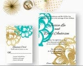 Gold and Robins Egg Blue Wedding Invitations, Gold Glitter Floral Invites, Robins Egg Blue Weddings Jessica Lee DEPOSIT