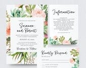 Floral and Succulent Invitation Suite Greenery Succulent Wedding Invitation, Destination Wedding, Invite, RSVP, Details Card SN012FWIS