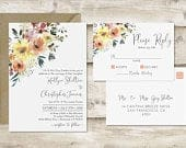 The Floral Wedding Invitation and Postcard RSVP Set, Floral Wedding Invitations, Garden Wedding Invitations, Spring Wedding Invitations