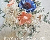 Coral Navy Wedding Table Centerpiece, Centerpiece Flowers, Wedding Reception, Aisle Flowers, Wedding Decor, Sola Flowers, Table Top Flowers