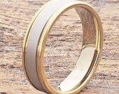 Brushed Gold Ring, Gold Tungsten Ring, Tungsten Wedding Band, Two Tone Ring, Brushed Gold Tungsten Band, Unique Ring, Womens Tungsten Band