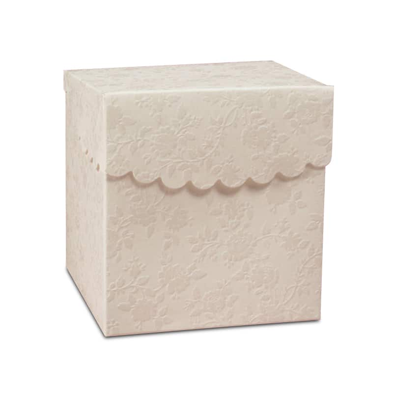"""Scalloped Lace Tuck Top Boxes Cardboard - Quantity: 200 - Favor Boxes Width: 3 1/4"""" Height/Depth: 3 1/4"""" Length: 3 1/4"""" by Paper Mart"""