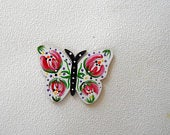 Butterfly Rose design, hand painted wood, tree ornament, christmas ornament, one of a kind, signed, unique