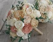 Dusty Rose, Blush Pink, Champagne, Ivory Sola Wood Bouquet, Dusty Rose and Ivory Wedding Bouquet, Dusty Rose Sola Bouquet, Blush Pink Rose