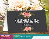 DiY Printable Wedding Place Card Template Instant Download EDITABLE TEXT Rustic Chalk Vintage Floral 3,5x2 Microsoft Word HBC4n