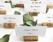 Wine Cork Place Card Holders, Variety from Real Recycled Corks, Wedding place card holders cork card holder rustic table decor table setting