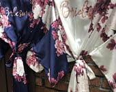 New! Bridesmaid Gift, Floral Bridesmaid Robes, Wedding Robe, Bridal Party Gift, Bridesmaid Robe, Satin Robe, Bridal Party Robes, Kimono
