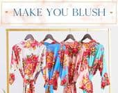 BRIDAL Cotton Floral Bridesmaid Robes, Bridesmaid Shower Gifts, Bride Robe, Getting Ready Robes, Wedding Robes, Wedding Gifts