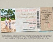 Boarding Pass Ticket Passport Wedding Save the Date Wedding Reception Elope Invitation Card Magnet Destination Nautical Travel