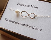 Gift for Mom Mothers Day Gift Sterling Silver Infinity Bracelet Wedding Bridal Shower Jewelry Mother of the bride groom