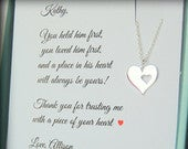 Mother of the Groom Gift, Mother of the Bride, Sterling silver heart, wedding jewelry, Thank you to mother of the groom