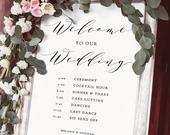 Welcome Program Order of the Day Wedding Sign, DIY Printable Wedding Welcome Sign, 18x24, 22x28, 24x36, A1, A2, Wedding Editable PDF