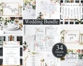 50% OFF SALE!!! 34 Piece Instant Download, Wedding Bundle, Welcome Sign, Wedding program, Wedding Menu Card, Table Numbers, Wedding Sign