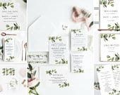 BUNDLE Greenery Wedding Invitation Templates, Printable Collection Suite, Menu, Save The Date, Wedding Signs, Program, Invitation Download