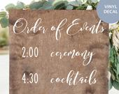 Wedding Timeline Sign, Wedding Decal, Order of Events
