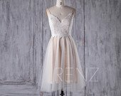Short Wedding Dress Boho Lace V Neck White Dress Women Backless Aline Tulle Prom Dress (LS262)
