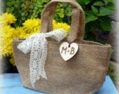 Flower Girl Basket Burlap and Lace Wedding Rustic Wedding Shabby Chic Wedding Burlap Bag DIY Wedding Fixer Upper Wedding