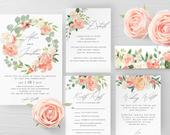 Peach Floral Wedding Invitation Template Printable Editable Wedding Invitation Suite Template Kit Templett Wedding Invitation Template F1