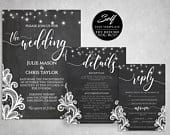 Wedding Invitation Template, Instant Download, DIY Wedding, Editable Template, Printable Invitation Set, w/ Rsvp Detail Cards, Self Edit