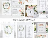 Floral Wedding Bundle Download Wedding Invitation Template Invitation Bundle Greenery Wedding printable invitation set Templett 17