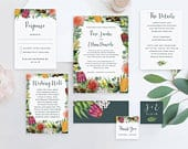 Australian Invitation Wedding Suite Template, Protea and Eucalyptus Invitation with RSVP and Details, Printable Cards Set, Cheap Online Kit