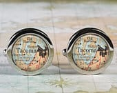 Tacoma cufflinks, Tacoma Washington cufflinks, Gig Harbor map cuff links graduation gift wedding gift anniversary Fathers Day gift