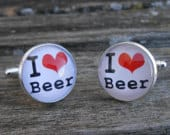 I LOVE BEER Cufflinks. Christmas, Wedding, Groom, Anniversary, Birthday, Groomsmen Gift, Dad, Christmas. Pint