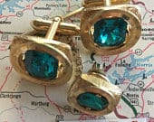 Mens Vintage Jewel Cufflinks Steampunk Cufflinks Green Jewel Tie Tack 1950s Mid Century Vintage
