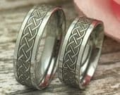 6mm Celtic Infinity Wedding Bands, Personalized Stainless Steel Rings, Anniversary Rings, Couples Matching Ring Sets