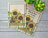Sunflower Seed Kraft Packets in bulk, wedding favor, personalized seed packets for baby shower, bridal shower, memorial service with seed
