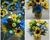 Sunflower Table Centerpieces in mason jars with burlap for Fall wedding, rustic, blue and yellow