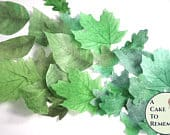 15 greenery party cake decorations, green edible wedding cake leaves, large 1.5 to 3 sizes, wafer paper. Summer wedding cake topper.