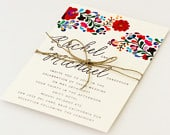 Floral Destination Wedding Invitations Colorful Mexican Embroidery Inspired Summer Wedding Invitation (Rachel Suite)