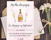 Funny Bridesmaid Card, Funny Maid of Honor Cards, Will You Be My Bridesmaid, Be My Maid of Honor, Bridesmaid Proposal Pop the champagne