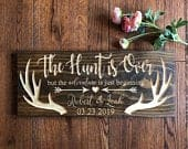Rustic wood signs, Newlywed Gift, Just Married, The Hunt is Over, Bridal Shower, Hunting, Housewarming Gift, Wedding Gift, Anniversary Sign