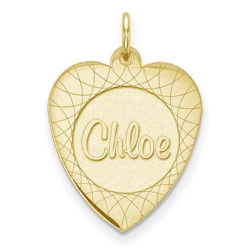 Personalized Name Heart Necklace in Yellow Gold