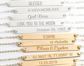 Gold Bar Necklace Name Bar Necklace Engraved Jewelry Personalized Necklace