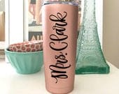 Rose Gold Tumbler Personalized Stainless Steel Tumbler with Lid Monogram Steel Tumbler Rose Gold Travel Mug Bridesmaid Coffee Cups