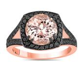 3.01 Carat Morganite Engagement Ring Rose Gold, Morganite and Black Diamonds Wedding Ring, Unique Halo Pave Handmade Certified