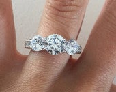 Three Stone Round Engagement Ring Three Stone Ring 3 Stone with Brilliant Cut Cubic Zirconia White Gold Engagement Ring Vintage Ring