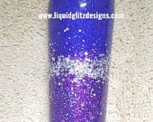 READY TO SHIP Purple Inspired Neon Holo Custom/Personalized Monogram Mothers Day Glitter Yeti Tumbler Coffee Travel Stainless Steel Cup